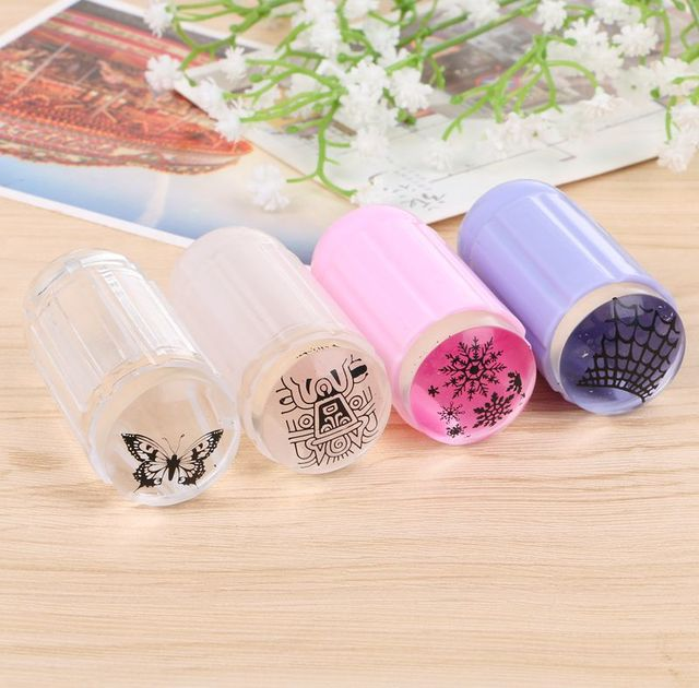 YZ01 1 White Colors 1Set Clear Jelly Nail Art Stamper Clear Silicone ...