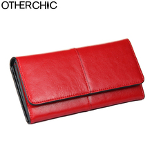 OTHERCHIC Ladies Women Wallets Genuine Leather Purses Long Wallet Woman Elegant Female Red Women's Wallets Leather Wallet Purse