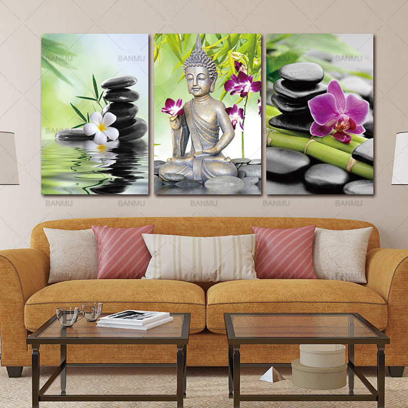 Exceptionnel Canvas Painting Buddha Wall Art Spa Zen Stone Canvas Print Painting Orchid  Flower Home Painting Wall Decal Art Keep Peace In Painting U0026 Calligraphy  From ...