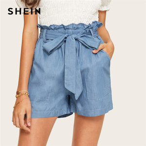Image 1 - SHEIN Casual Blue Paperbag Waist Twin Pocket Patched Belted Denim Shorts Women Summer 2019 High Waist Wide Leg Solid Shorts
