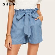 SHEIN niebieska w stylu casual Paperbag talia podwójna kieszeń połatany popędzający Denim szorty kobiety lato 2019 wysokiej talii szerokie nogawki jednolite spodenki