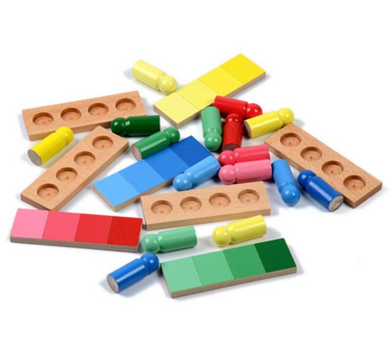 Nouveau bois bébé jouets famille Version Montessori couleur ressemblance tri tâche bois petite enfance préscolaire enfants bébé cadeaux - 5