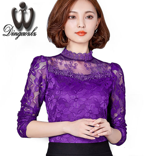 Lace Bouses Shirts Women Tops 2016 Autumn Style Blusa White Lace Blouse Elegant S-5XL Plus Size Shirts Hollow out Woman Clothes