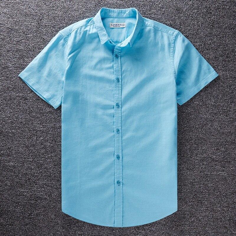 100% QualitäT Leinen Baumwolle Große Größe Neue Mode Sozialen Shirt Sommer Herren Kurzarm Shirts Casual Slim Fit Camisa Masculina Hemd Männer Angenehm Zu Schmecken