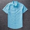 Lençóis de Algodão Tamanho Grande Nova Moda Camisa Social dos homens do Verão Camisas Casual Slim Fit Camisa Masculina camisa de Manga Curta homens