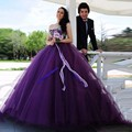 Púrpura Vestido de Novia de La Boda Arco vestido de Bola de Tulle Fuera Del Hombro Que Rebordea Cristales Dubai Turco vestido de Novia vestidos de novia
