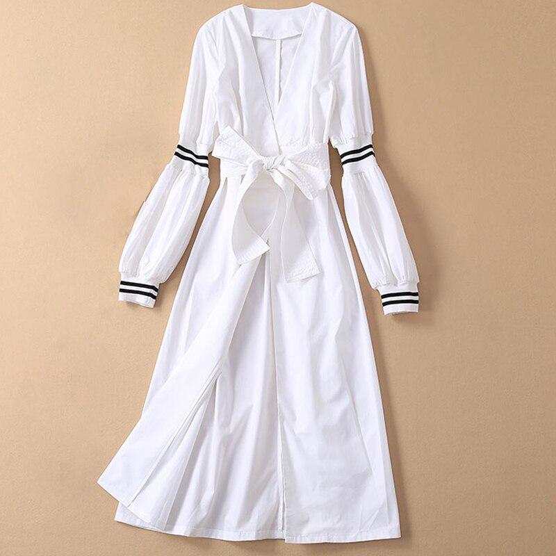 RoosaRosee rojo 2019 vestido de diseñador de pasarela mujeres cuello en V vestidos de manga larga de linterna vestidos blanco negro Midi fiesta bata Mujer-in Vestidos from Ropa de mujer    1