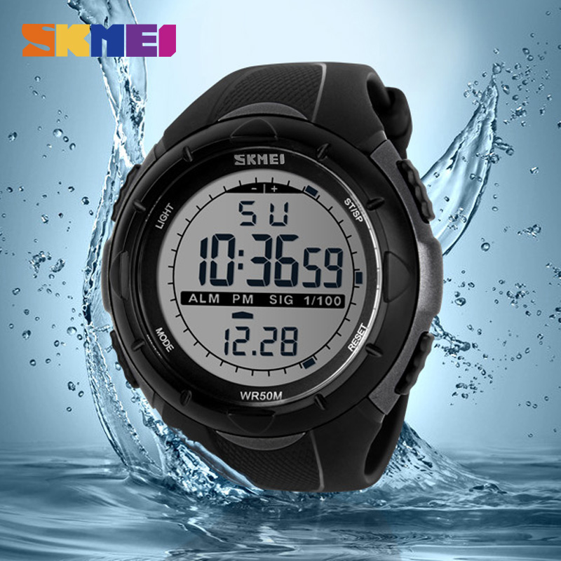 SKMEI 1025 Men Climbing Sports Digital Wristwatches Big Dial Military Watches Alarm Shock Resistant Waterproof Watch skmei brand fashion digital quartz watch men shock resistant waterproof sports military watches men s casual led wristwatches