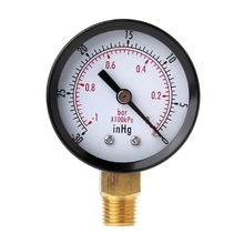 Vacuum Pressure Gauge Mini Dial Air Pressure Meter Double Scale BAR inHg 1/4