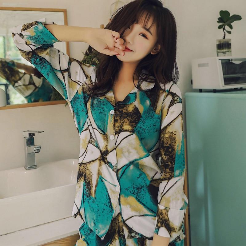 New Brand Autumn Vintage Pyjamas Cotton   Pajamas     Set   Women Sleepwear   Pajama     Sets   Pijamas Mujer Pyjamas Homewear Clothing