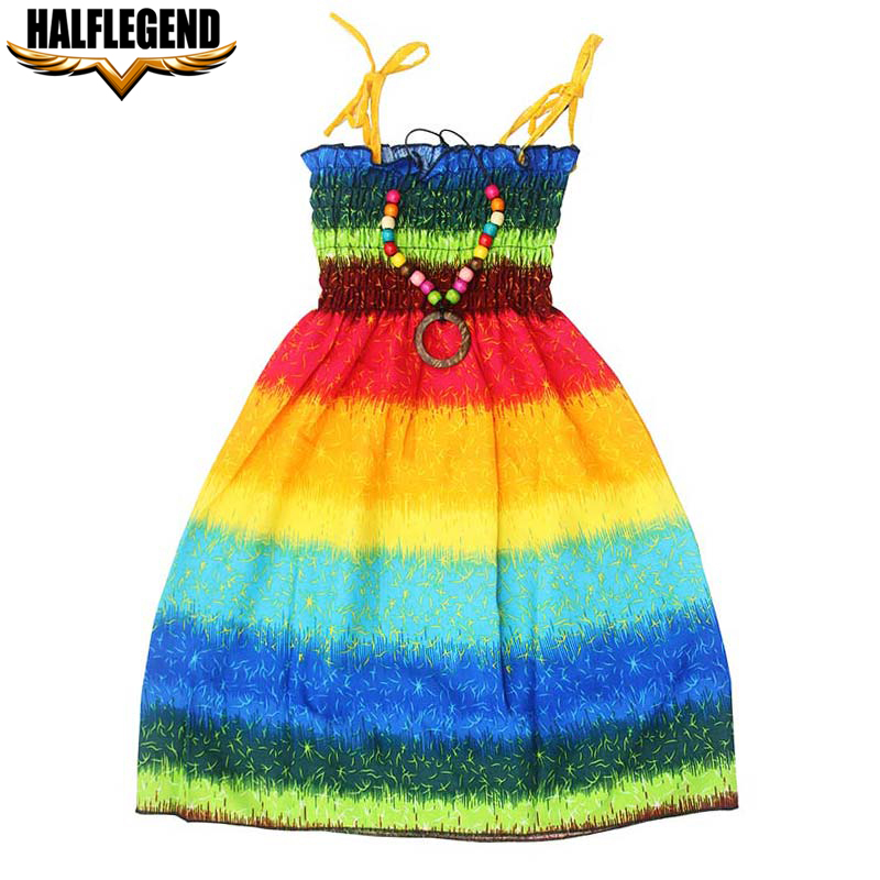 1661298f4d8a5 US $6.97 |2018 Summer Bohemian Baby Girl Dress Rainbow Beach Dresses  Princess Cotton Dresses for Girls with Necklace 4 7 8 9 10 11 12 Year-in  Dresses ...