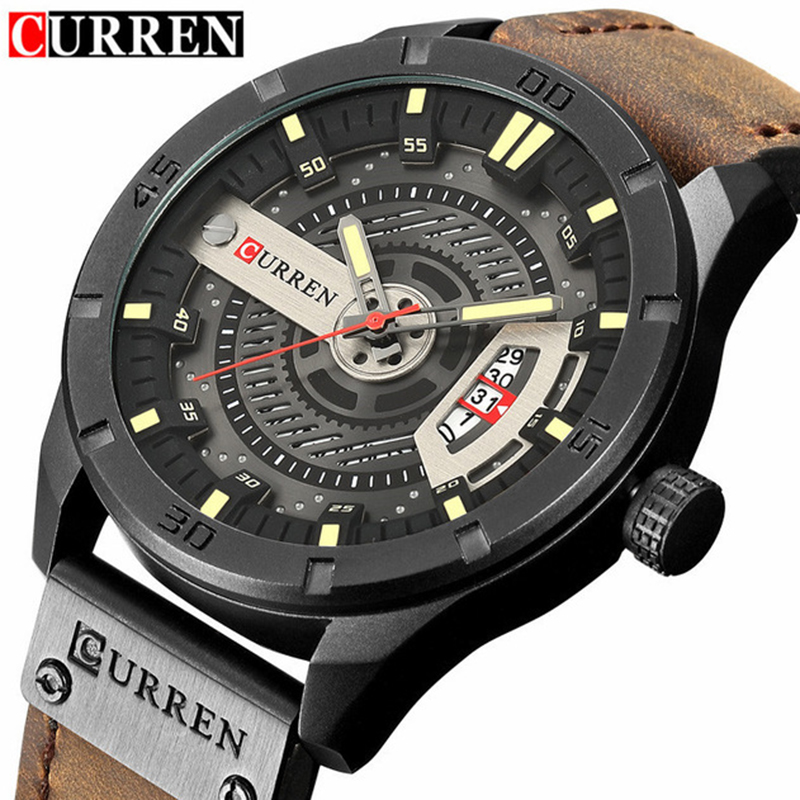 Fashion Mens Watches Curren Brand Luxury Leather Quartz Men Watch Casual Sport Clock Male Relogio Masculino 8301 Drop Shipping цена и фото