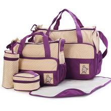8 kolorów 5 sztuk pielucha dla niemowląt torba dla mamy Hobos torby dla mam jedno ramię torebki dziecięce mumia pieluszka dla niemowląt torby dla mamy tanie tanio Torby na pieluchy Poliester zipper (30 cm Max Długość 50 cm) Stałe diaper bag 33cm 41cm 18cm Red purple brown khaki dark blue light blue pink