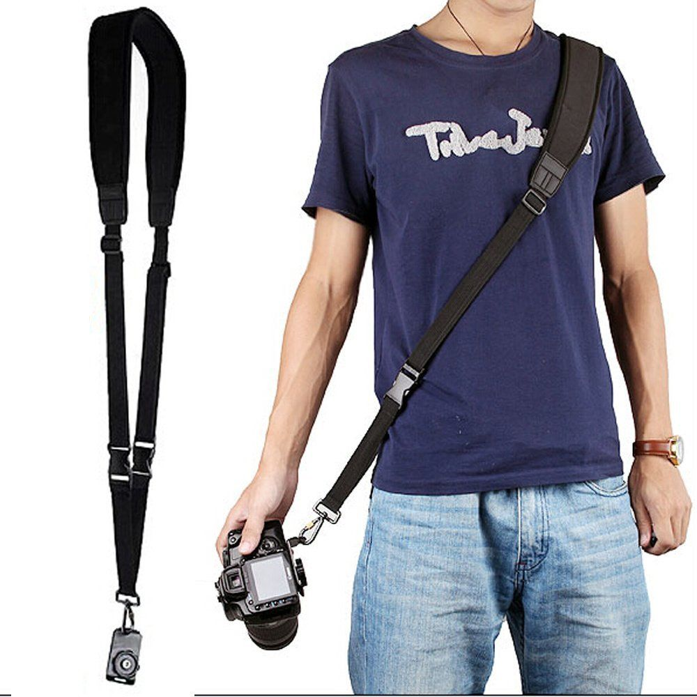 Negro Quick Rapid hombro Correa Masajeadores de cuello correa para Canon EOS 1300d 800d 760d 750d 700d 80d 77d 70d 5Ds R 7d 6d 5d marca IV III