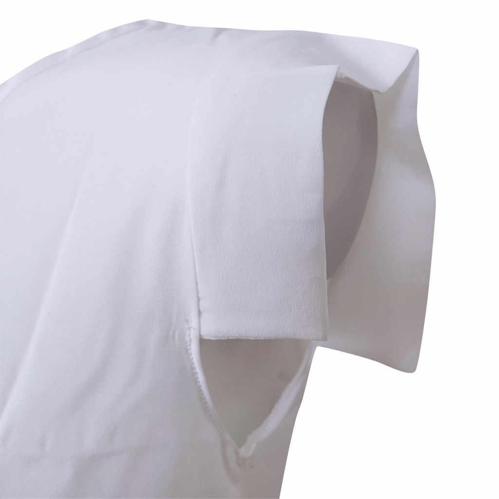 blusas mujer de moda 2019 women's blouse shirt Women's Sleeveless Wrinkle O-Neck Casual Solid Chiffon Shirt Blouse