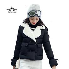 Leiouna  Fashion Winter Short Jacket Women's Collar Thicked Warm Wool Blend Cotton Coats Autumn Casaco Feminino