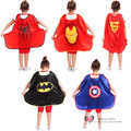 Free shipping Superhero Cape 5 styles Kids Dressup Party Halloween Cosplay Supply Toys Super Spider Bat Cap Iron Funny Gifts