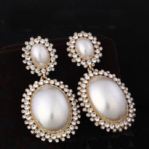 Luxury Rhinestones Pave Hanging Vintage Bridal Long Drop Pearl Earrings For Wedding Brides Jewelry