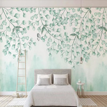 Wallpaper fresh green leaves watercolor style simple TV background wall professional custom mural photo wallpaper