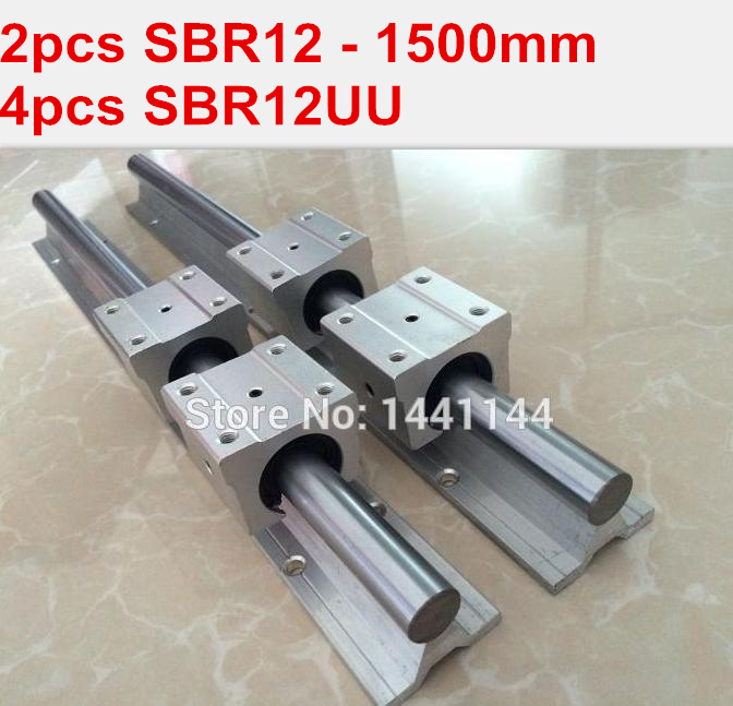 SBR12 linear guide rail: 2pcs SBR12 - 1500mm linear guide + 4pcs SBR12UU block for cnc parts precise linear guide rail 1500mm aluminum linear guide rail