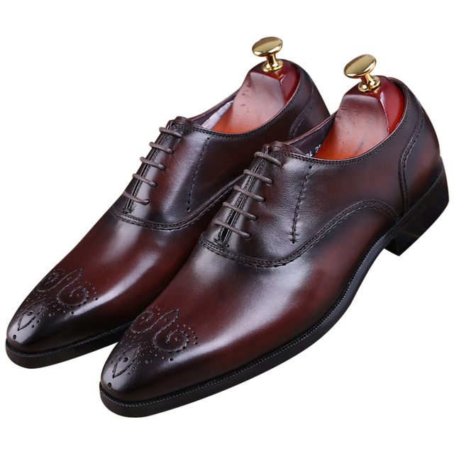 Goodyear Welt shoes black   brown tan oxfords mens wedding shoes genuine  leather business shoes mens dress shoes 068491f092f7