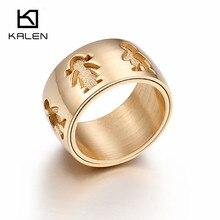 Kalen New Stainless Steel Gold Little Girl & Boy 12mm Width Rings For Women Good Quality Engagement Finger Rings For Family Love