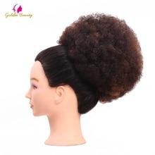 Золотой Красота 6 дюймов Для женщин эластичная сетка вьющиеся Шиньон с двумя Пластик Расчёски и гребни для волос прически крышка Синтетические волосы