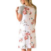 ELSVIOS Summer Floral Printed Loose A-Line Dress Women O Neck Short Sleeve Patchwork Dresses Casual Sundress Female Vestidos 2