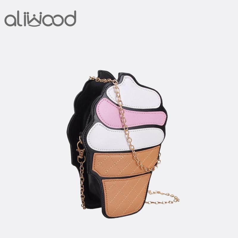 2017 Women's Handbags Fashion Cute Cartoon Females Ice Cream PU Leather Chain Mini Shoulder Messenger Bag Crossbody Bag Bolsas ice cream shaped crossbody chain bag