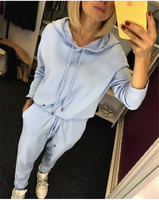 2019 autumn new women's suit ice silk knit hoodie + trousers casual two piece women