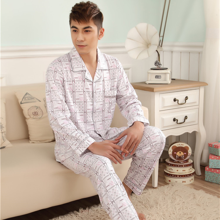 2018 Spring new mens comfortable fit long-sleeved knit cotton cardigan double white plaid pajama suit tracksuit
