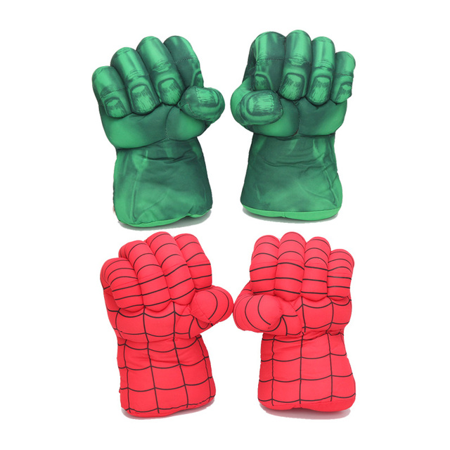 10 ''25 cm Hulk Mãos Quebra + Spider-Man Plush Luvas Performing Props Brinquedos Do Homem Aranha Grande Presente