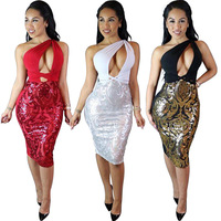 SOUMNS 2017 Sexy Bodycon Strapless Sequinsed Patchwork One Shoulder Backless Sheath Sexy Bandage Knee Length Dresses