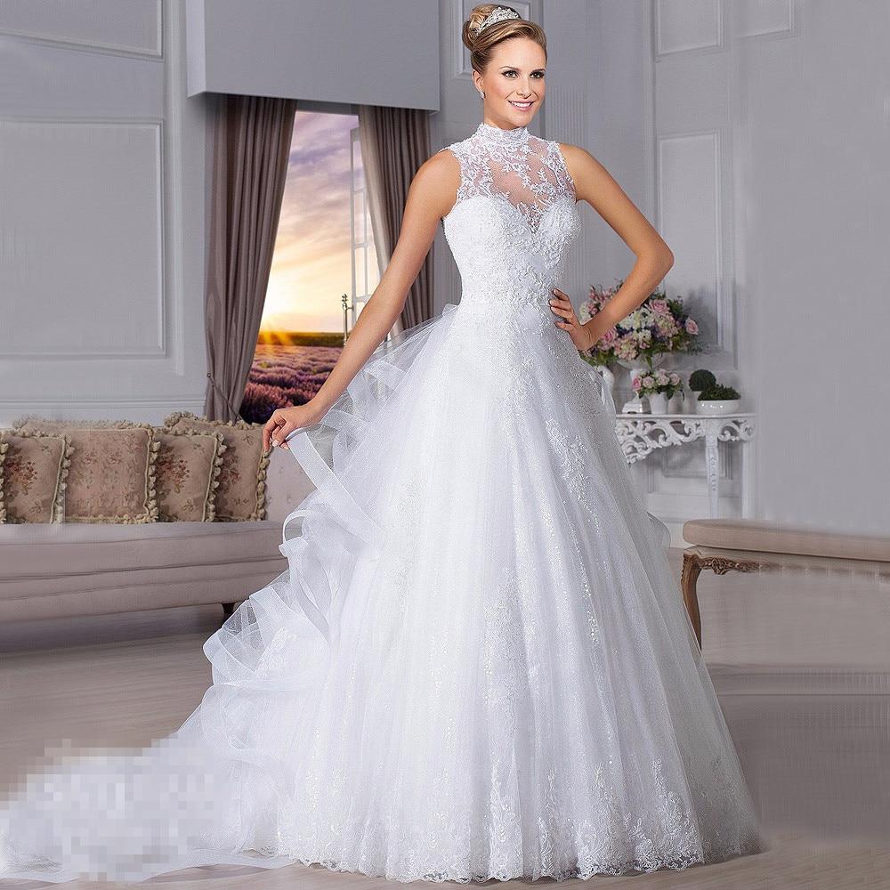 Ball Gown Vestido De Noiva High Neck Sleeveless Covered