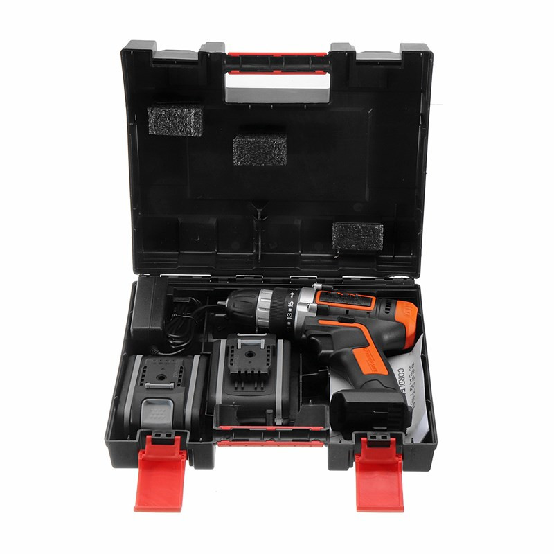 36V Electric Screwdriver Cordless Drill Impact Drill Mini Wireless Power Tools With 1/2 Lithium Battery Rechargeable