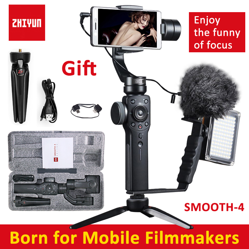 Zhiyun Smooth 4 Handheld 3-Axis Brushless Gimbal Stabilizer for iPhone X for Samsung for gopro PK DJI Osmo 2 x cam sight2 2 axis smartphone handheld stabilizer mobile phone brushless gimbal with bluetooth for iphone samsung xiaomi nexus