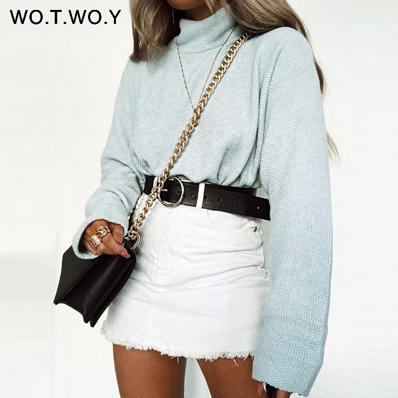 WOTWOY 2018 Autumn Winter Turtleneck Pullovers Women Casual Loose Knitted Sweaters Women Solid Long Sleeve Tops Women Sweater