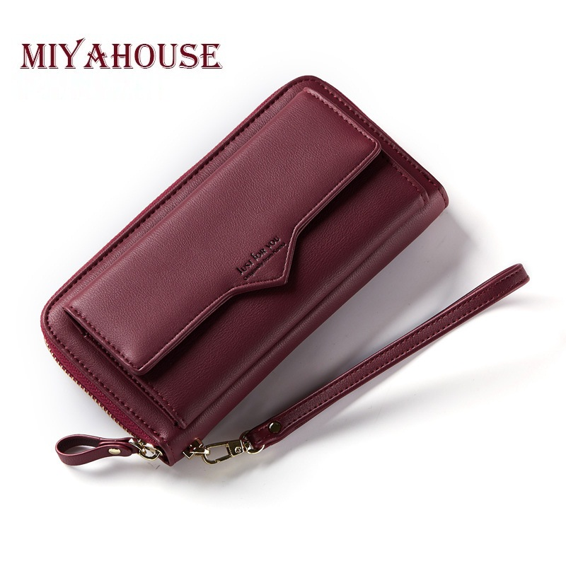 Miyahouse Female Long Wallets Letter Bags Cell Phone Wallet Women Envelope Fold Cards Clutch Purse Trendy Lady Wristlet trendy women s clutch with envelope and twist lock design