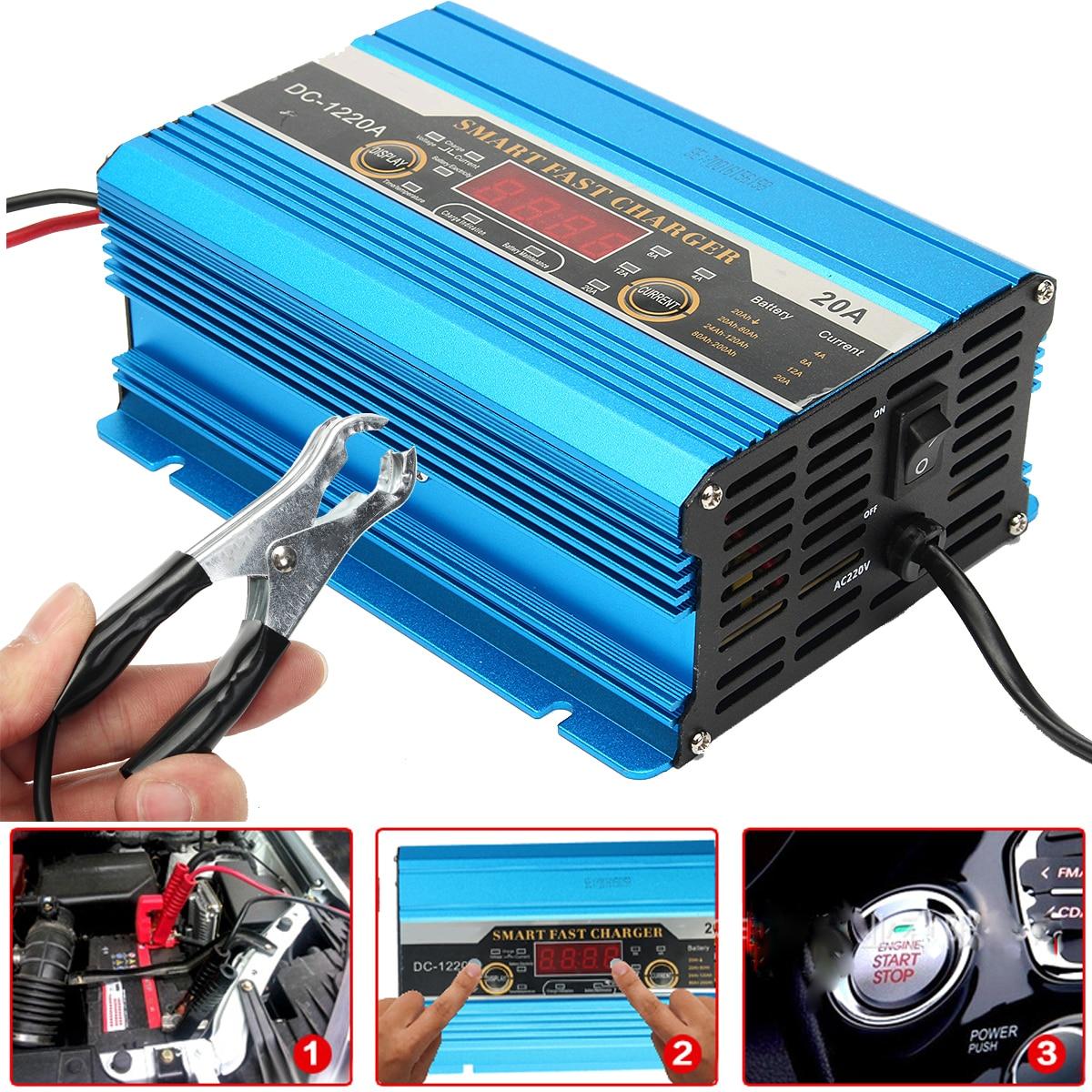 Chargeur de batterie de voiture 12 V 20A 200AH batterie de moto pur cuivre chargeur de réparation rapide intelligent pour la charge automatique complète