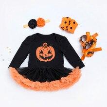 Gorąca sprzedaż Halloween kostium dla dzieci dziewczynek chłopców pajacyki noworodka Halloween dynia kombinezony sukienka kreskówka drukowane śpioszki dla niemowląt