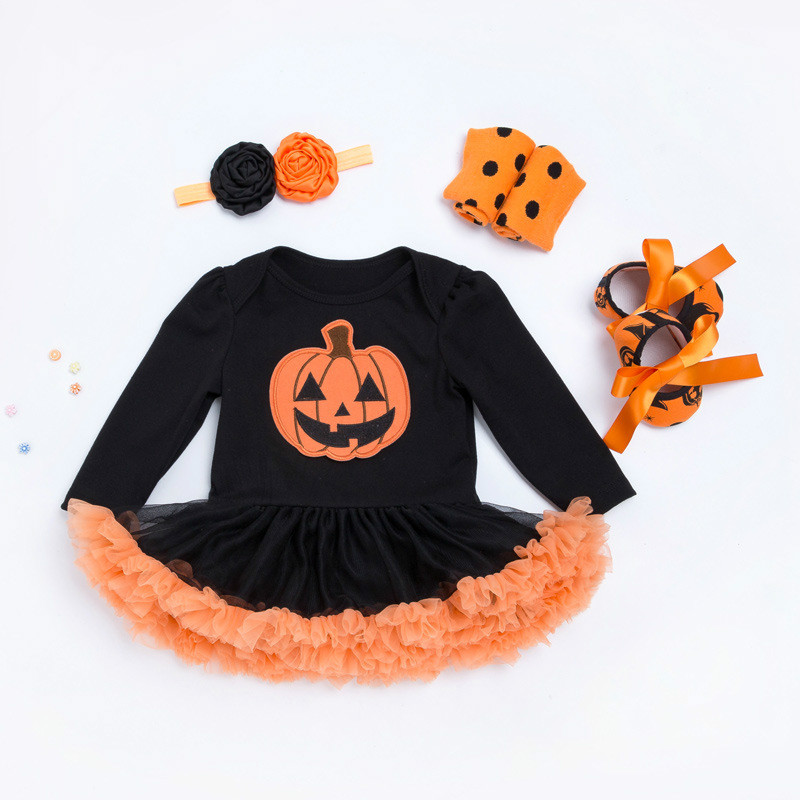 Hot sale Halloween Baby Costume Baby Girls Boys   Rompers   Newborn Halloween Pumpkin Jumpsuits Dress Cartoon Printed Baby   Rompers