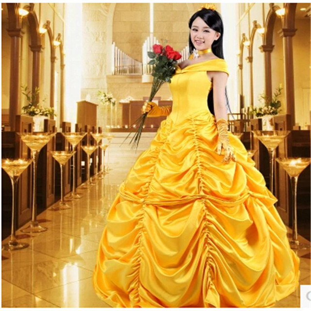 Beauty And The Beast Princess Belle Cosplay Costume Yellow Dress