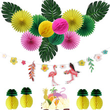 15pcs/set Hawaiian Party Decorations With Flamingo Garlands Palm Leaves Cake Topper For Beach Summer Tropical Supplies