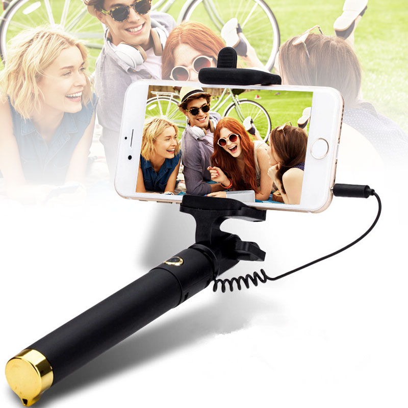 Mini Selfie Stick With Button Wired Silicone Handle Monopod Universal For iPhone 6s 5s Android Samsung