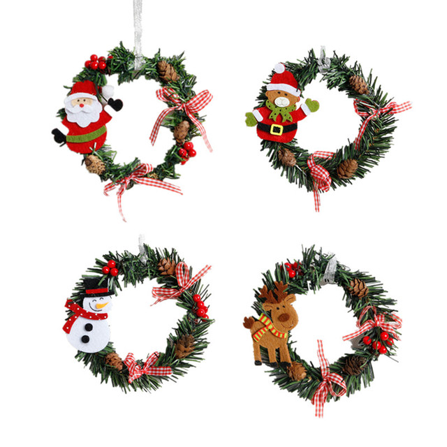 2pcs christmas ring wreaths ornaments santa clause pinecone pink bow knots window door hanging garland christmas - Hanging Garland Christmas Decorations