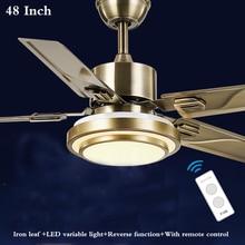 48 Inch Modern Bedroom Ceiling fans light LED variable with remote control Restaurant Fan Light European Antique 220V/110V