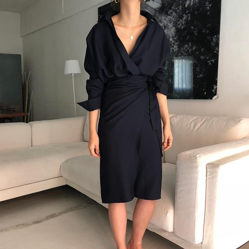 CHICEVER Bow Bandage Dresses For Women V Neck Long Sleeve High Waist Women's Dress Female Elegant Fashion Clothing New 19 7
