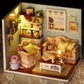 Artesanal Casa de Brinquedo Casa de Boneca Sala De Casa De Bonecas Diy Casa de Brinquedo de Montar Iluminação Casa de Boneca Em Miniatura casa de Bonecas Em Miniatura