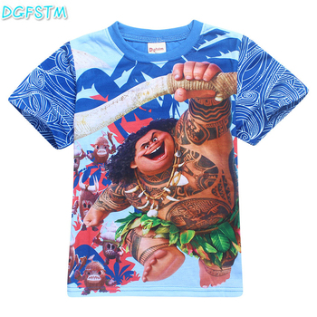 2017 New children clothes Vaiana boys and girls Tops Tees smiley emoji t shirt cotton moana kids cartoon Moanna printing T-shirt