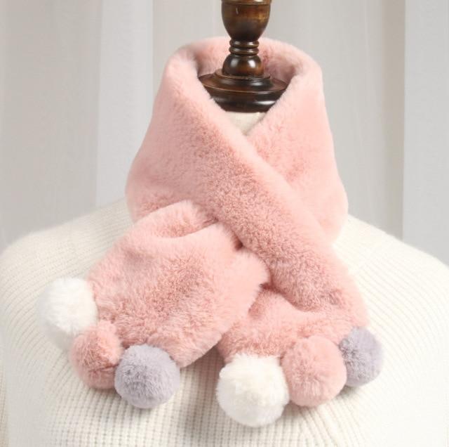 2018 Зимний милый детский шарф для мальчиков и девочек, детские шарфы с искусственным кроличьим мехом, шарф с помпоном, гетры